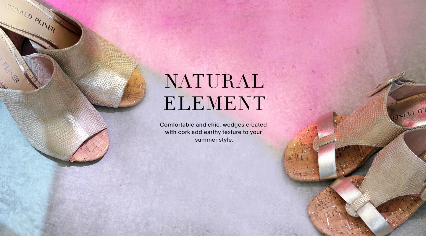Natural Element. Comfortable and chic, wedges created with cork add earth textur to your summer style